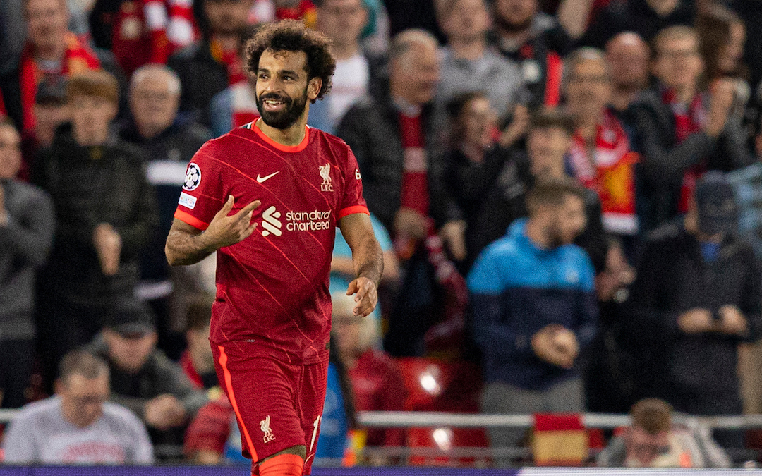 Liverpool's Mohamed Salah celebrates scoring to make it 2-2 during the UEFA Champions League Group B Matchday 1 game between Liverpool FC and AC Milan at Anfield